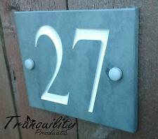 Deep Engraved Natural Slate House Door Gate Number Sign Plaque 26 to 50 A1