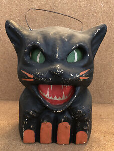 Vintage 1940's Halloween Black Cat Paper Mache Jack O lantern Pulp Antique