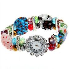 Crystal Rhinestone Lampwork Bracelet Bangle Flower Watch HOT AD