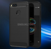 For Xiaomi Mi A1 Carbon Fibre Gel Case Cover Brushed & Glass Screen Protector