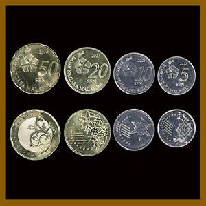 Malaysia 5 10 20 50 Sen (4 Pcs Coin Set), 2012-2014 Hibiscus Flower Unc