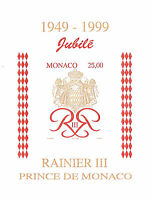 MONACO bloc n° 80, Jubilé du Prince RAINIER II, NON DENTELE IMPERF, TB **, RARE