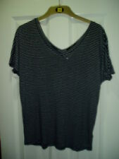 NEW Ladies Size 8 UK Euro 36 Striped V Neck Bat Wing Top