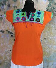 Tangerine & Aqua Hand Embroidery Mayan Huipil Chiapas Mexico Hippie Boho Cowgirl