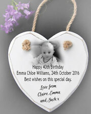 Personalised Hanging White Wooden Heart Wall Plaque Sign 40th birthday present