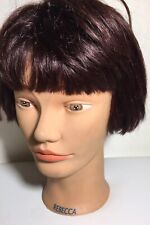 DATELINE HAIR Mannequin 100% Human Hair 100% Hand Implanted Short Style Rebecca
