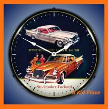 "STUDEBAKER HAWK 1958 58 PACKARD 14"" LIGHTED WALL CLOCK RETRO GARAGE MAN CAVE NEW"