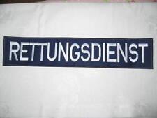 RETTUNGSDIENST Rückenschild dunkelblau ,Schrift weiß, Klett 40cmx8cm NEU