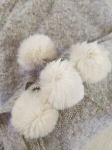 Nordstrom At Home Brushed Faux Fur Pom Throw BEIGE BROWN WHITE SOFT