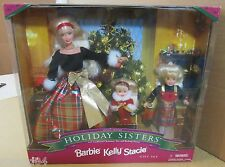 Holiday Sisters Barbie Kelly Stacie Dolls Gift Set Rocking Horse Paper Ornaments