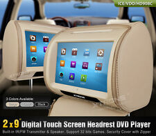 "2x Beige 9"" Touch Screen Stylish Headrest Monitor Car DVD Player USB Port Game"