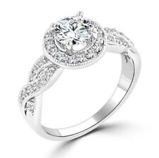 1.85 TCW Halo Pave Infinity Twist Round Cut CZ Engagement Bridal Ring Size 10