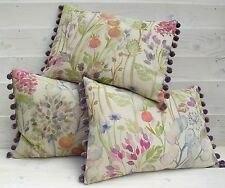 Handmade Voyage HEDGEROW linen fabric 17 x 13 cushion COVER pompoms pink purple