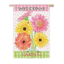 Bright Gerbers Welcome to the Garden Blossoms Summer Flowers Large House Flag