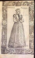 GERMANY/ ALEMANIA. Donzella nobile (Augusta) Xilografía original.Vecellio, 1590