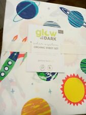 NWT! Pottery Barn Kids Glow In The Dark Solar System Organic Sheet Set/Full/$109