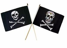 "12x18 12""x18"" Wholesale Combo Pirate Eye Patch & Sugar Skull Bones Stick Flag"