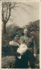 1935 Royal artillery Captain With wife & Baby 4.25 x 2.5 inches sepia