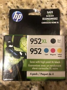 New 4-PACK COMBO HP GENUINE 952XL BLACK & 952 COLOR Factory Box. Exp 05-2023