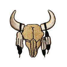 ID 1321 Western Cowboy Cow Skull Embroidered Iron On Applique Patch