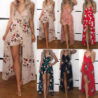 Women Boho Holiday Floral Playsuit Ladies Summer Shorts Jumpsuit Long Maxi Dress