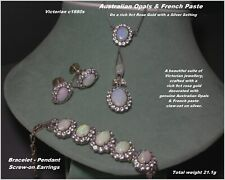 VICTORIAN Opal & French Paste Suite Earrings Bracelet Pendant 9ct Gold c1880s