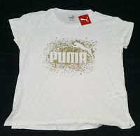 Puma  womens Glitz Tee White Metallic Gold 582372-04
