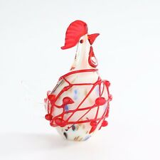 "New 8"" Hand Blown Art Glass Chicken Rooster Bird Figurine Sculpture Statue White"