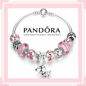 Pandora Silver Bangle Bracelet with Pink Heart Dog Lover European Charms