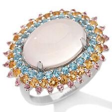 Rarities Carol Brodie Rose Quartz and Gemstone Sterling Silver Ring