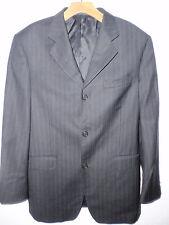 SERGIO VALENTINO men suit jacket black striped size 48 ,100% wool super 140's