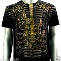 Artful Couture T-Shirt Sz M L XL XXL Tattoo Rock Skull Music Electric Guitar AB2
