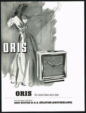 1940's Old Vintage 1948 Oris Swiss Watch Alarm Clock Mid Century Art Print AD