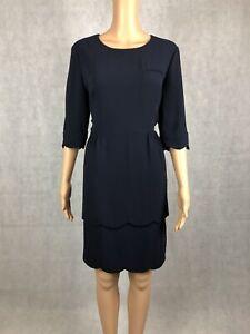 Whistles Navy Blue Double Scallop Hem Formal Shift Dress - UK 14 / EU42 RRP £120