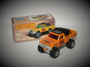 MATCHBOX SUPERFAST 4x4 OPEN BACK PICK UP TRUCK #63 SMOOTH ROOF MINT IN BOX 1982