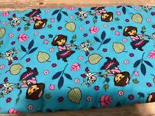 "Dora Exploring Fall Toss Blue Corduroy Fabric Boots Leaves Dancing 44"" x 72"""