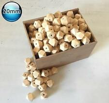30 Natural 20mm Wooden Beads Unfinished Geometric Hexagon Wood Bead Teething