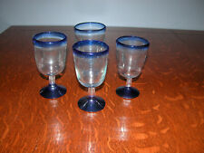 Traditional hand blown blue rim Mexican wine glasses