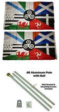 3x5 Celtic Nations Irish 2ply Flag Aluminum Pole Kit Gold Ball Top 3'x5'