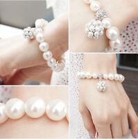NEW  Fashion Elegant Jewelry Big White Pearl Ball Crystal Rhinestone Bracelet