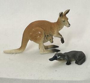 """Schleich Kangaroo Platypus Animal Toy Figure PVC Australian Outback Wildlife 2"""""""