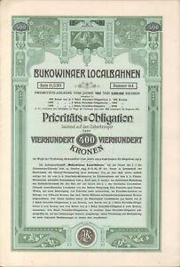 Bukowinaer Localbahnen Prioritäts Obligation zu 400 Kronen Czernowitz 1902