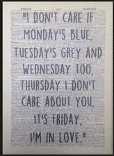 'It's Friday I'm In Love' The Cure Print Vintage Dictionary Page Wall Art Lyrics