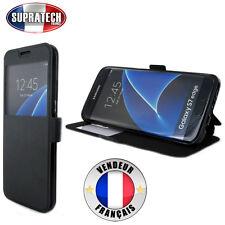 Etui Rabattable Noir Avec Ouverture Ecran pour Samsung Galaxy S7 Edge G935