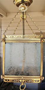 Antique ornate fancy brass glass panel chandelier pendant ceiling light fixture