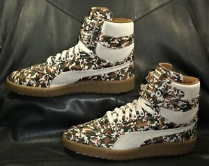 Puma camo canvas w/beige canvas trim casual  high top Men's sneakers size US 9