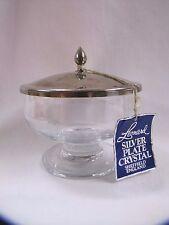 Crystal Footed Bowl Jar Leonard Silver Plate Sheffield England Vintage w Tags