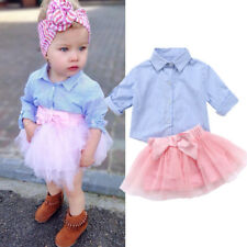 Toddler Kids Baby Girl Stripe T-shirt Top Lace Tutu Skirt Outfit Set Clothes lxj