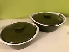 2 Vtg Nacco/Copco Denmark Enameled Cast Iron Covered Dutch Oven Pot 100E 101E