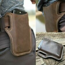 Men Cell Phone Belt Pack Bag Loop Waist Holster Pouch Case Genuine Leather 